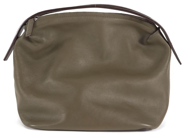 LOEWE Olive Green Leather Pouch Top Handle Bag