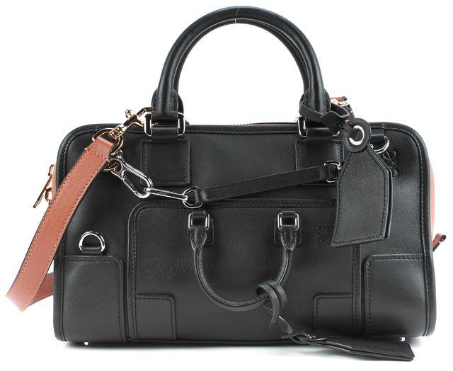 LOEWE Black Tan Leather Amazona 28 Multiplication Convertible Satchel