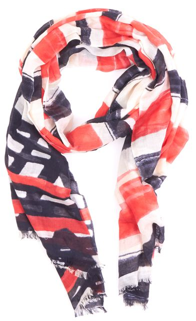 LAFAYETTE 148 Red Black Ivory Silk Geometric Print Frayed Trim Silk Scarf