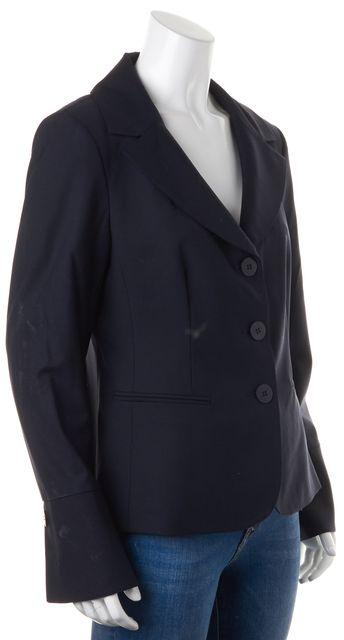 LAFAYETTE 148 Navy Blue Wool Triple Button Pocket Front Blazer Jacket
