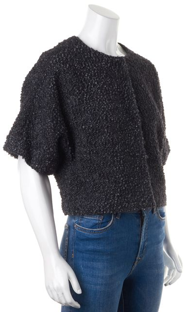 LAFAYETTE 148 Black Wool Mohair Textured Boucle Cropped Short Sleeve Jacket