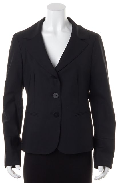 LAFAYETTE 148 Black Stretch Wool Two Button Blazer Jacket