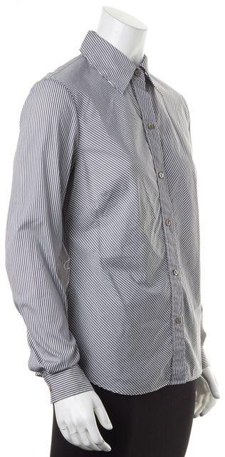 LAFAYETTE 148 White Black Diagonal Striped Button Down Shirt