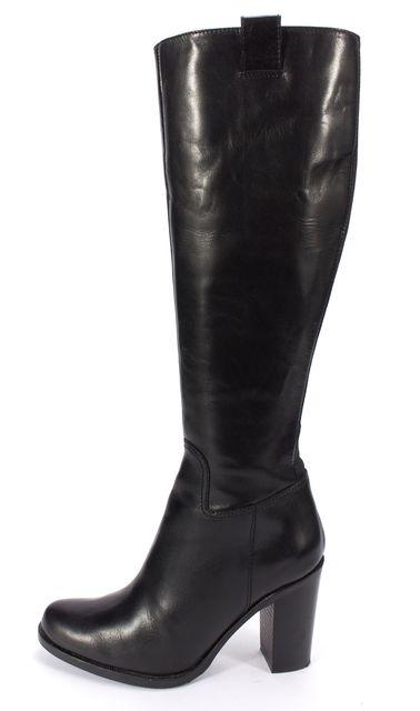 L.K. BENNETT Black Leather Leo Knee High Heeled Boots