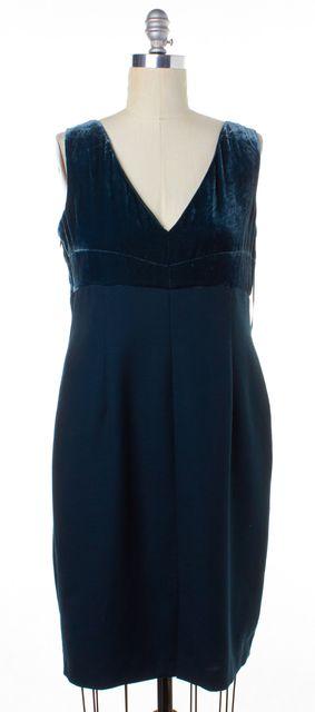 L.K. BENNETT Ocean Green Velvet Sheath Dress