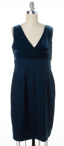 L.K. BENNETT Ocean Green Velvet Sheath Dress Size 12