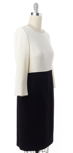 L.K. BENNETT Ivory Black Colorblock Sheath Dress