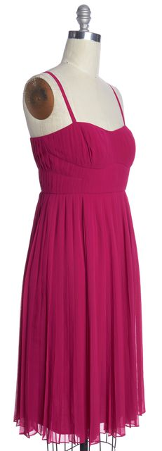 L.K. BENNETT Pink Raspberry DR Dita Pleated Strappy Fitted Sheath Dress