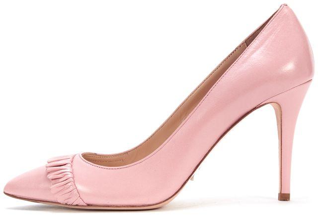 L.K. BENNETT Pink Leather Rihanna Ruffled Pointed-toe Heels