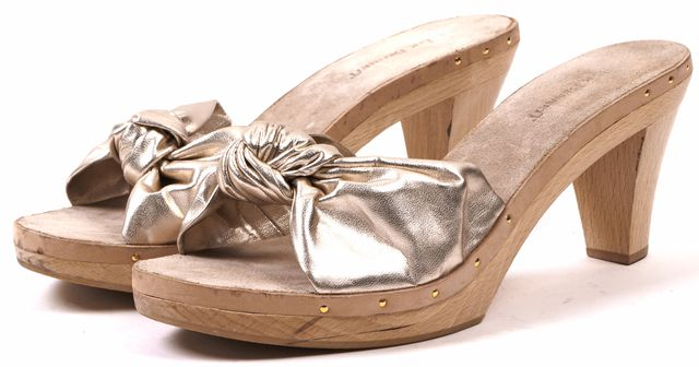 L.K. BENNETT Gold Beige Leather Wooden Heel Slip-on Sandals