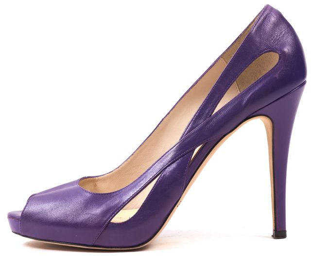 L.K. BENNETT Purple Leather Peep-toe Cut-out Pumps