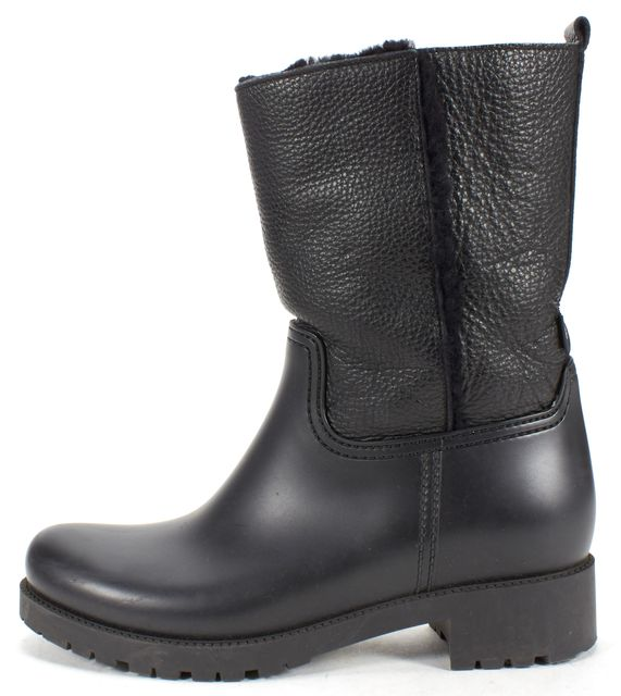 L.K. BENNETT Black Rubber Leather Fur Lined Mid-Calf Boots