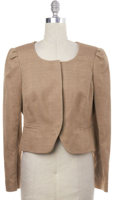 L.K. BENNETT Beige Knit Snap Button Down Jacket