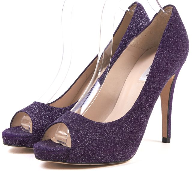 L.K. BENNETT Purple Textured Suede Peep Toe Pumps