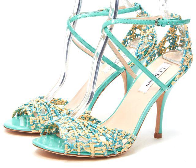 L.K. BENNETT Mint Green Patent Leather Straw Woven Sandals