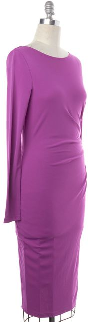 L.K. BENNETT Purple Stretch Ruched Wrap Sheath Dress