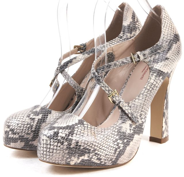 L.K. BENNETT Gray Snake Embossed Leather Pumps
