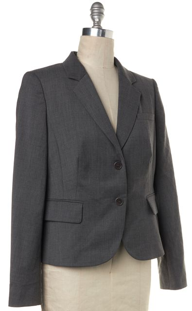 L.K. BENNETT Melange Gray Wool Standard JK/Erica Blazer Jacket