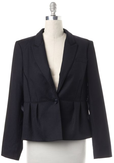 L.K. BENNETT Navy Blue Wool Blend Ribbed Trim Single Button Jacket