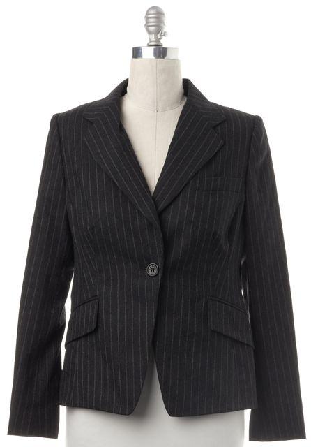 L.K. BENNETT Gray Pinstriped Wool Blazer Jacket
