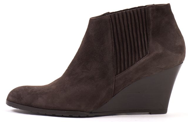 L.K. BENNETT Brown Suede Leather Casual Round Toe Wedge Ankle Booties