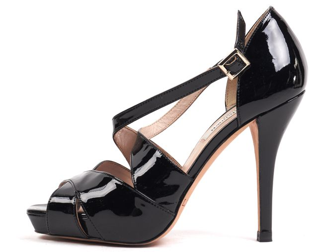 L.K. BENNETT Black Patent Leather Sandal Pump