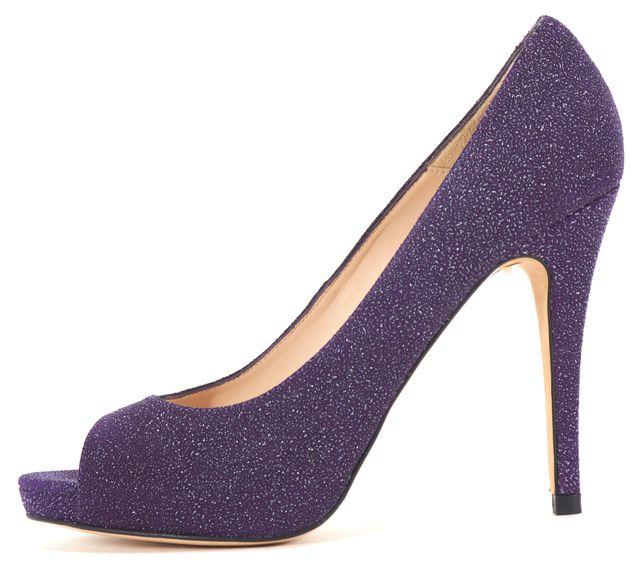 L.K. BENNETT Purple Textured Suede Metallic Embellished Open Toe Heels