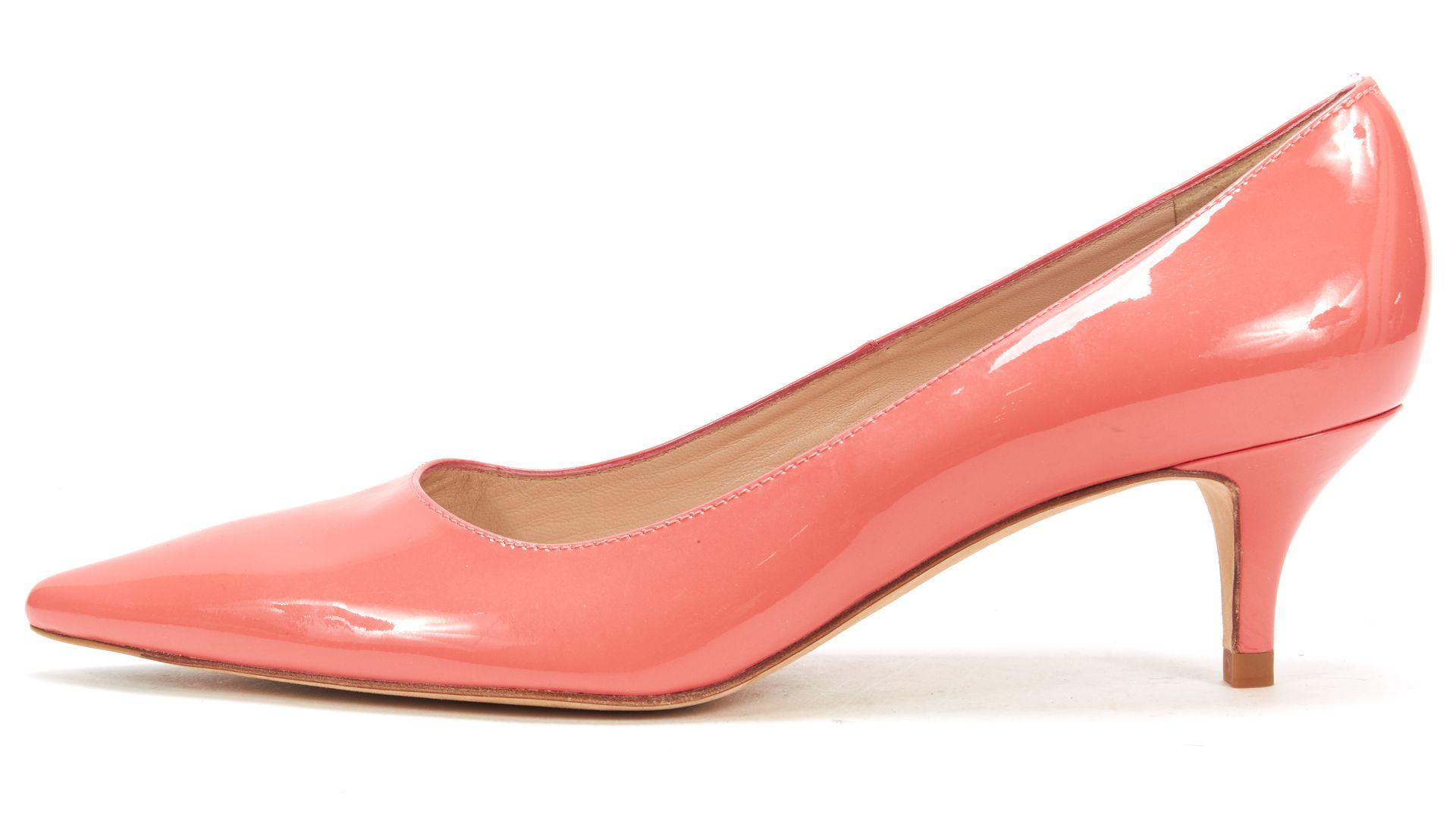 L.K. Bennett Coral Patent Leather Pointed Toe Kitten Heel Pumps ...