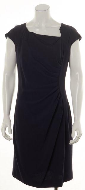 L.K. BENNETT Blue Cap Sleeve Draped Knee-Length Sheath Dress