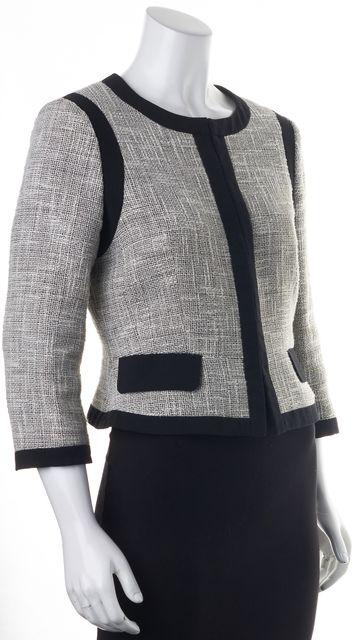 L.K. BENNETT White Tweed Black Trim Pocket Front Allina Jacket