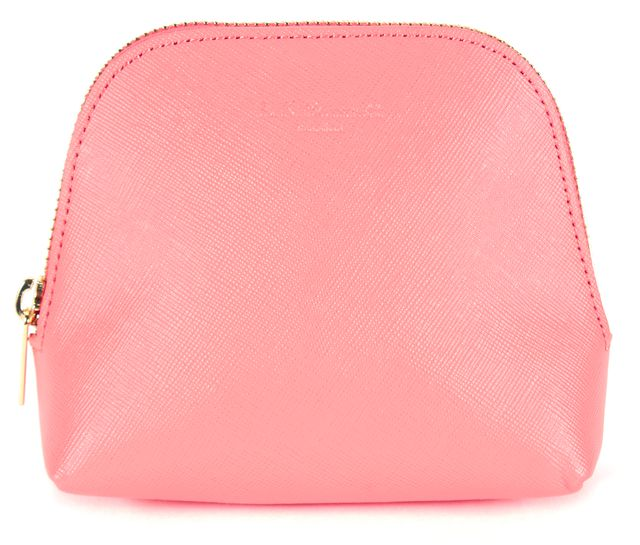 L.K. BENNETT Pink Saffiano Leather Small Cosmetic Bag Pouch