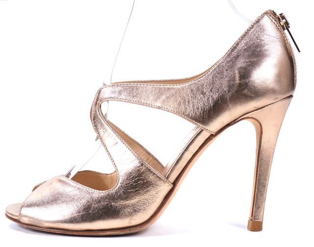 L.K. BENNETT Metallic Gold Leather Cut Out Peep Toe Heels