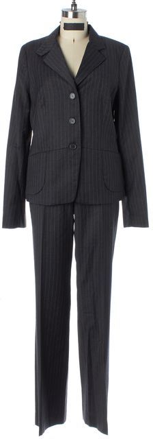 L.K. BENNETT Gray Pinstriped 100% Wool Pant Suit Set