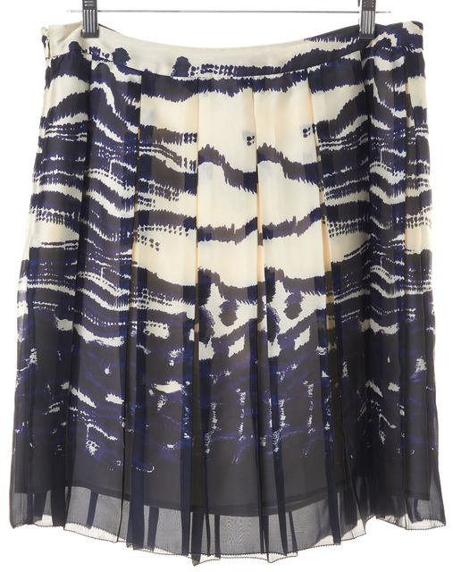 L.K. BENNETT Navy Blue Abstract Printed Silver Pleated Skirt