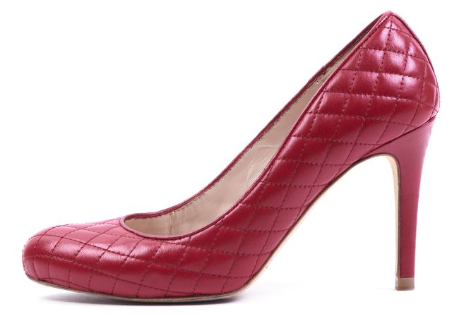 L.K. BENNETT Lipstick Red Quilted Nappa Leather Pumps