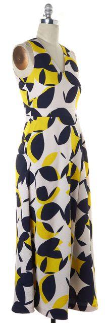 L.K. BENNETT White Navy Yellow Leaf Printed DR Lina Maxi Dress