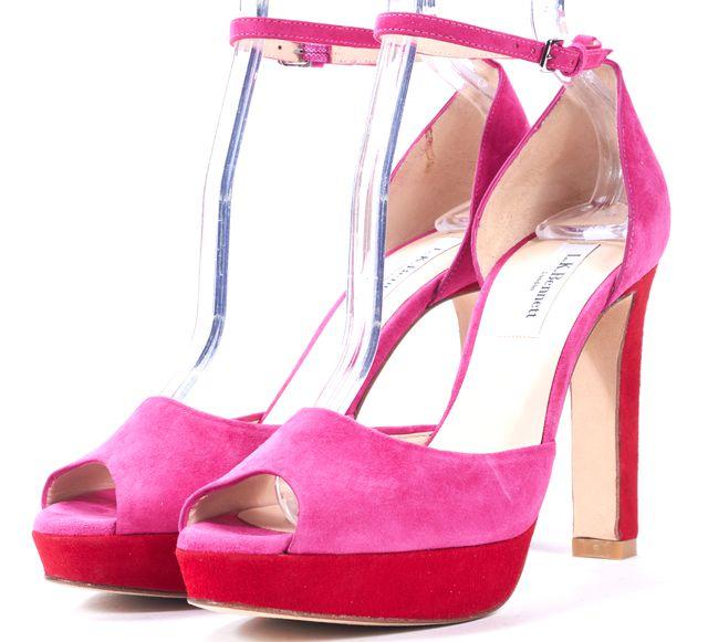 L.K. BENNETT Pink Red Color Block Suede Platform Peep Toe Heels 38