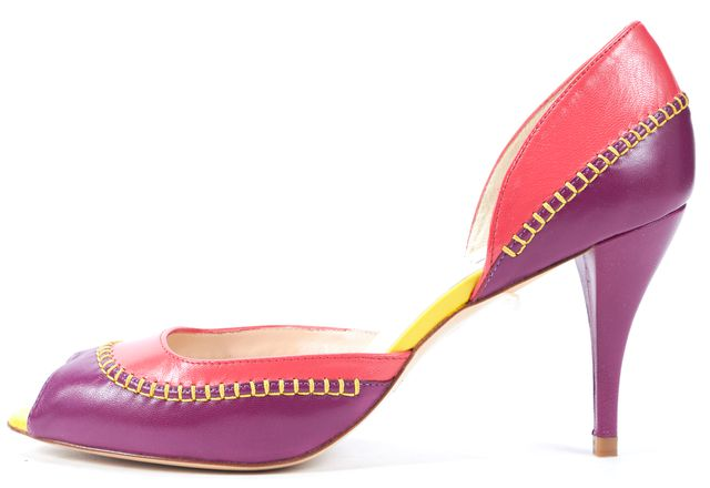 L.K. BENNETT Purple Pink Yellow Leather Peep Toe Arlene d'Orsay Heels