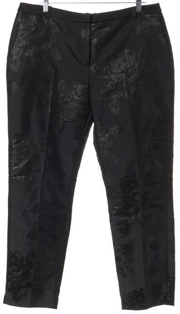 L.K. BENNETT Black Lichen Floral Print Trouser Dress Pants