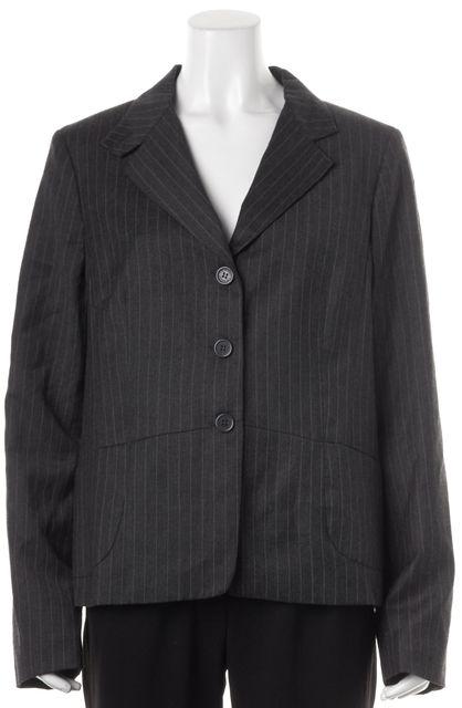 L.K. BENNETT Gray Pinstriped Wool Button Up Gianna Blazer