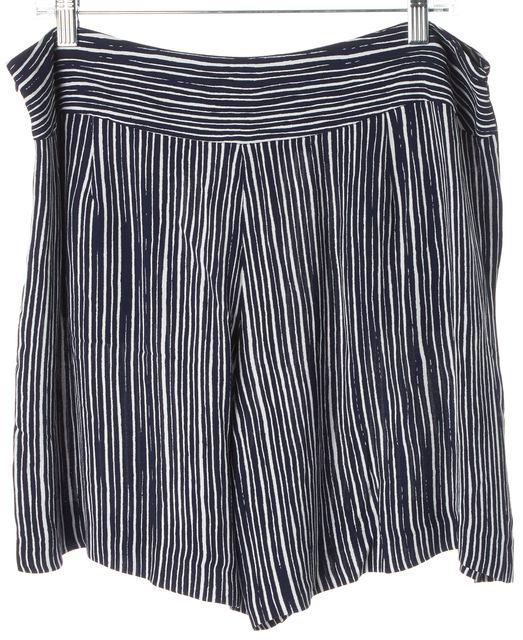 L.K. BENNETT Navy Blue White Striped Lea Loose Casual Shorts