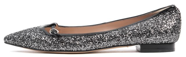 L.K. BENNETT Gray Glitter Embellished Point Toe Holly Flats Size EU 41 US 11