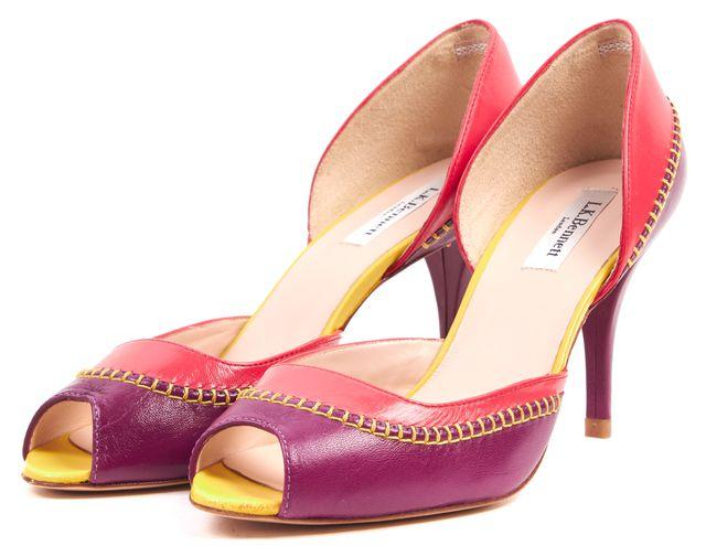 L.K. BENNETT Purple Pink Yellow Leather Arlene d'Orsay Heels