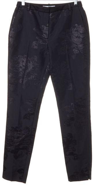 L.K. BENNETT Black Metallic Floral Lichen Pleated Dress Pants
