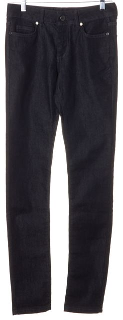 L.K. BENNETT Washed Black Stretch Cotton Mid-Rise Laurie Skinny Jeans