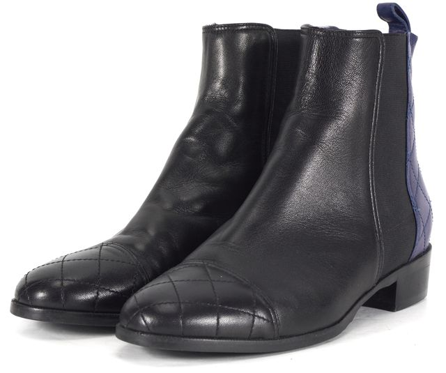 L.K. BENNETT Black Blue Quilted Leather Ankle Boots