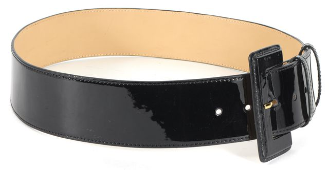 L.K. BENNETT Black Patent Leather Wide Buckle Belt