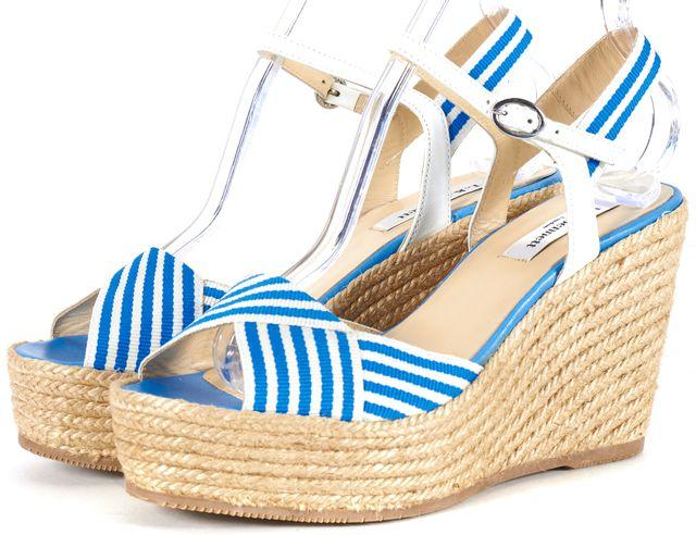 L.K. BENNETT Blue White Canvas Striped Espadrille Sandal Wedges