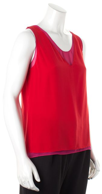 L.K. BENNETT Red Pink Silk Alberta Double Layer Blouse