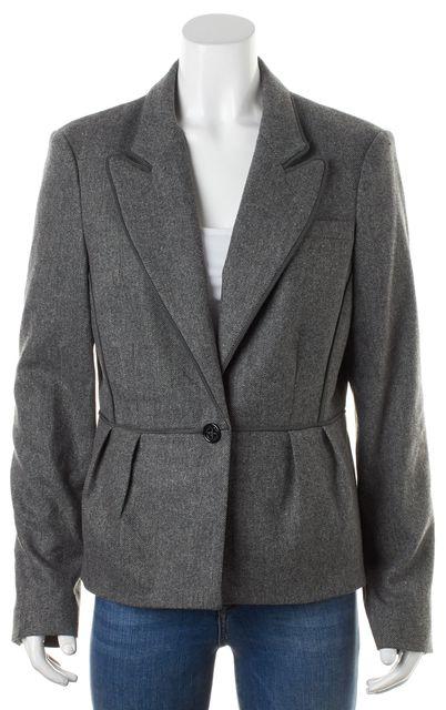 L.K. BENNETT Flannel Gray Striped Wool Ribbon Trim Brunel Blazer